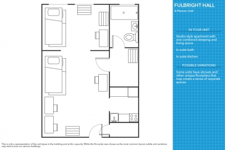 GW Student Summer Housing: Shared 4-person Studio Apartment, Fulbright